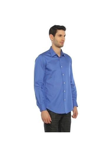 Comienzo Puantiyeli Gömlek Mavi